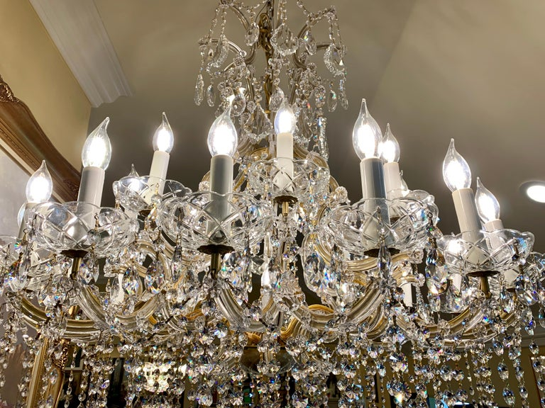 Empire Magnificent 25-Light Maria Theresa Swarovski Crystal Olde World Gold Chandelier For Sale