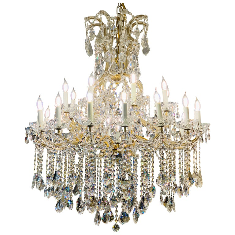 Magnificent 25-Light Maria Theresa Swarovski Crystal Olde World Gold Chandelier For Sale