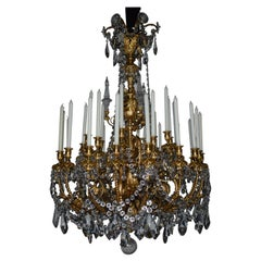 Magnificent 30 Light Gilt Bronze & Crystal Chandelier