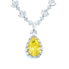 Magnificent 35.31 Carat Fancy Intense Yellow Pear Diamond Necklace