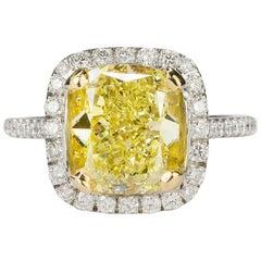 Magnificent  4.46 carat  Fancy Intense Yellow Diamond Ring