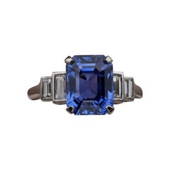 Magnificent 5.36 Carat Unheated Ceylon Sapphire .70 Carat Diamond Platinum Ring