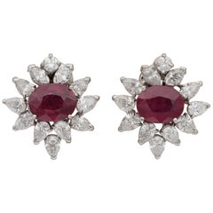Magnificent 6.46 Carat Natural Ruby 4.60 Carat Diamond Midcentury Earrings