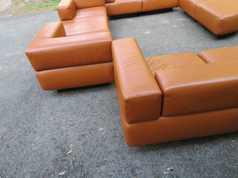 Magnificent 9-Piece Harvey Probber Caramel Brown Leather 'Cubo' Sectional Sofa For Sale 4