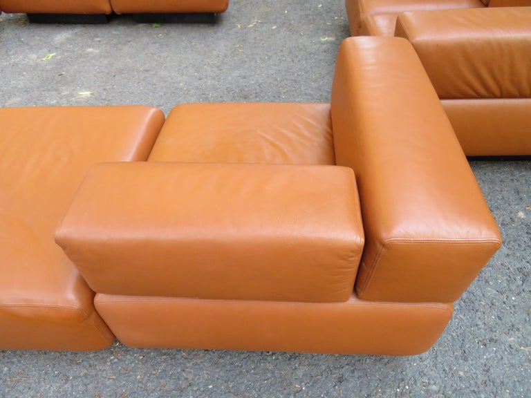 Magnificent 9-Piece Harvey Probber Caramel Brown Leather 'Cubo' Sectional Sofa For Sale 7