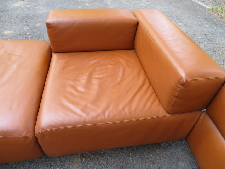 Magnificent 9-Piece Harvey Probber Caramel Brown Leather 'Cubo' Sectional Sofa For Sale 8