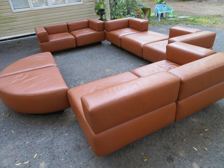 Magnificent 9-Piece Harvey Probber Caramel Brown Leather 'Cubo' Sectional Sofa For Sale 9