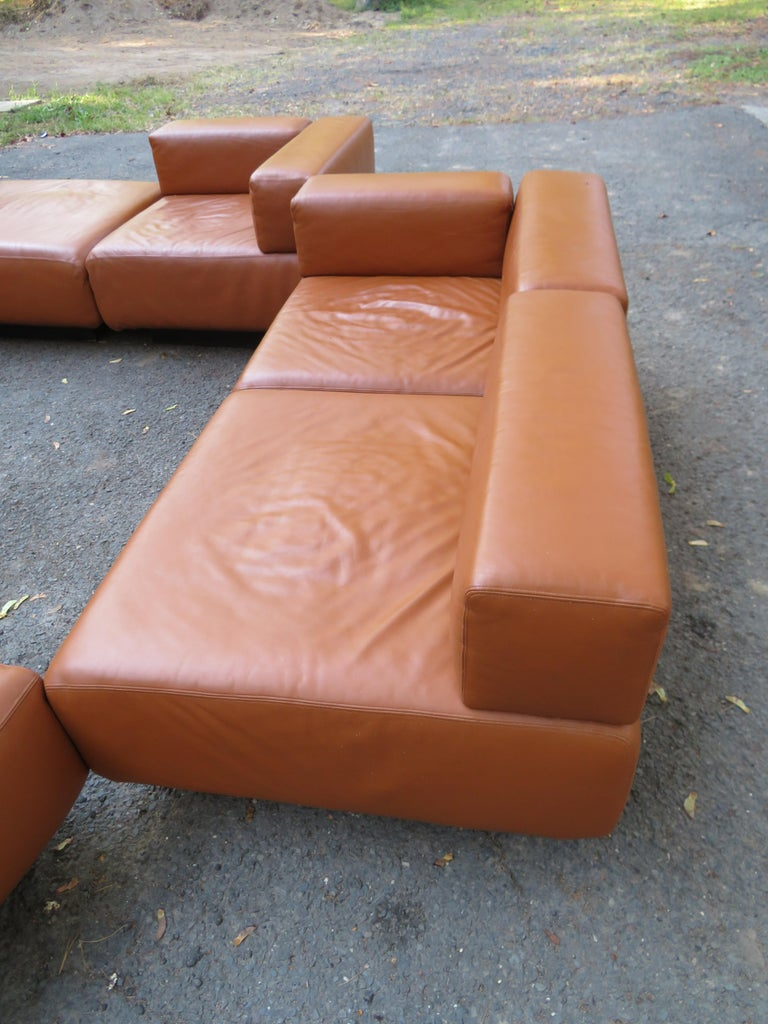 Mid-Century Modern Magnificent 9-Piece Harvey Probber Caramel Brown Leather 'Cubo' Sectional Sofa For Sale