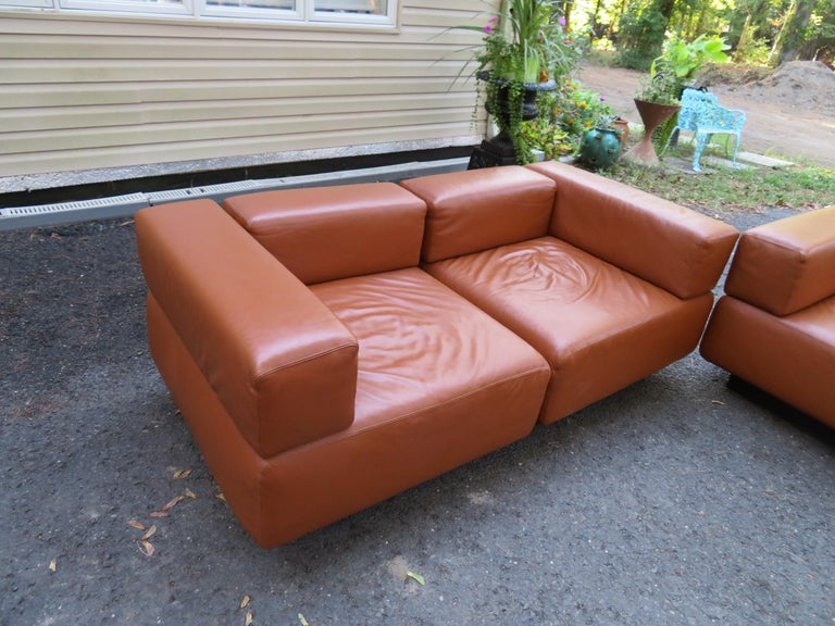 American Magnificent 9-Piece Harvey Probber Caramel Brown Leather 'Cubo' Sectional Sofa For Sale