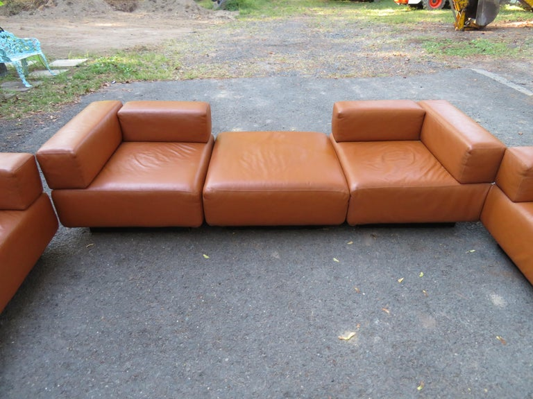 Magnificent 9-Piece Harvey Probber Caramel Brown Leather 'Cubo' Sectional Sofa In Good Condition For Sale In Medford, NJ