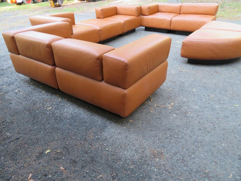 Late 20th Century Magnificent 9-Piece Harvey Probber Caramel Brown Leather 'Cubo' Sectional Sofa For Sale