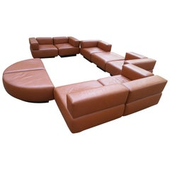 Magnificent 9-Piece Harvey Probber Caramel Brown Leather 'Cubo' Sectional Sofa