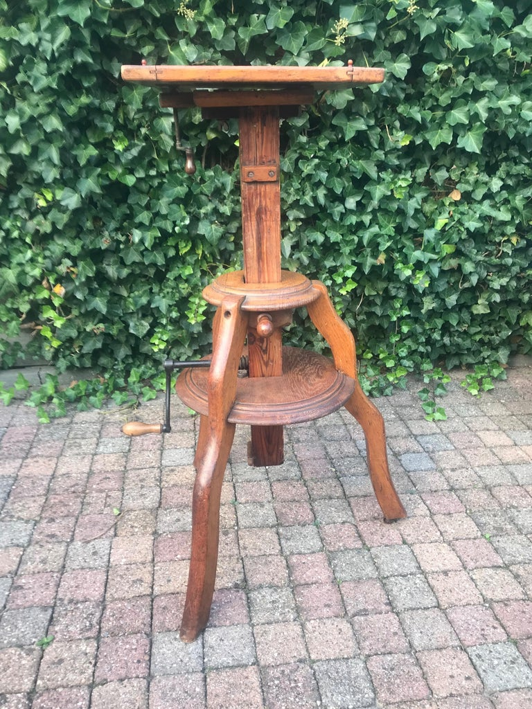 Magnificent & Adjustable Wooden Sculpture or Plant Stand, Column / Pillar Easel For Sale 3