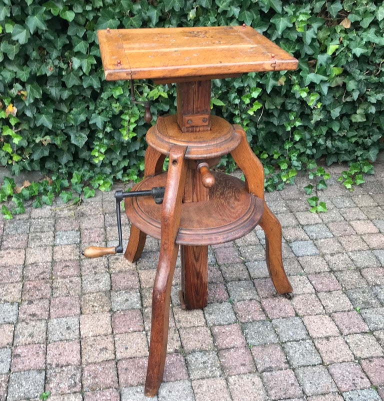 Magnificent & Adjustable Wooden Sculpture or Plant Stand, Column / Pillar Easel For Sale 4