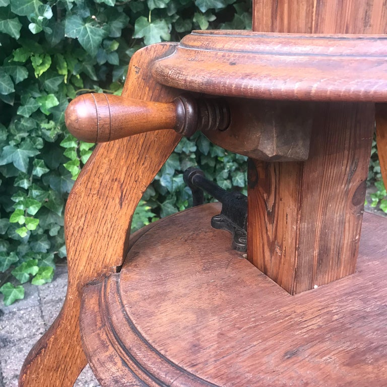 Magnificent & Adjustable Wooden Sculpture or Plant Stand, Column / Pillar Easel For Sale 5