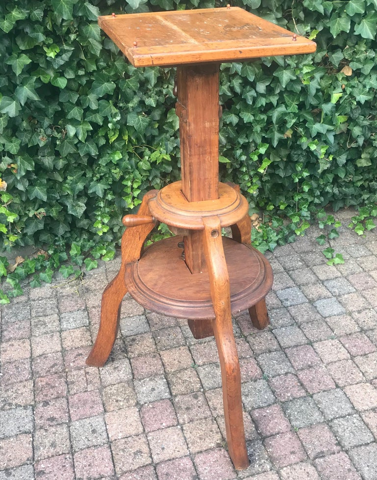 Magnificent & Adjustable Wooden Sculpture or Plant Stand, Column / Pillar Easel For Sale 7