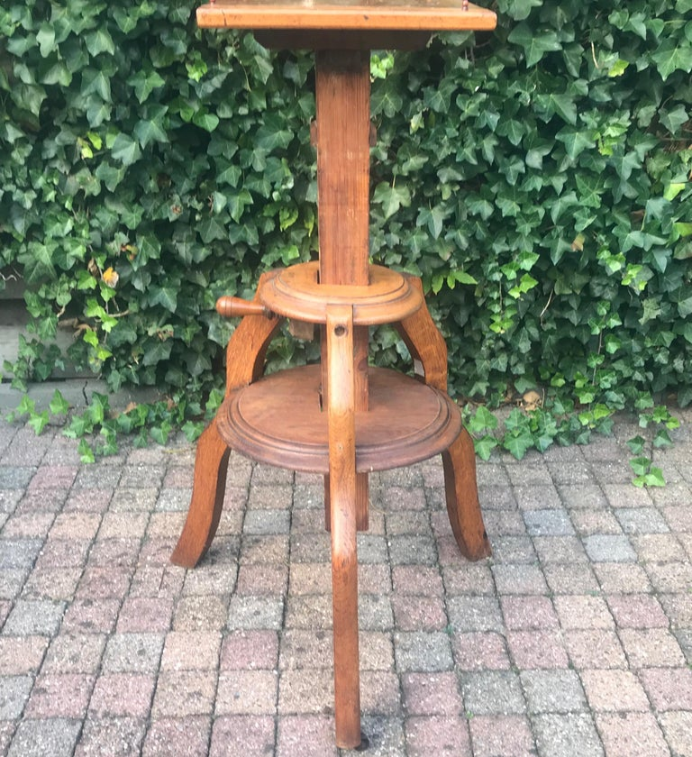 Magnificent & Adjustable Wooden Sculpture or Plant Stand, Column / Pillar Easel For Sale 10