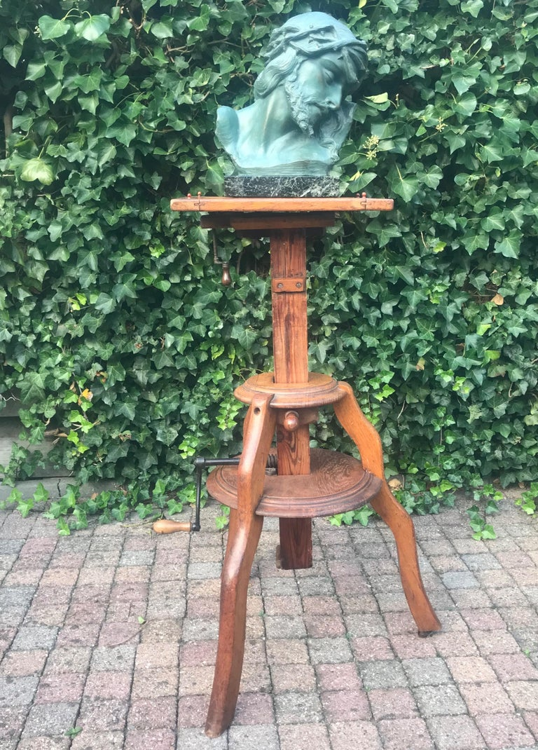 Arts and Crafts Magnificent & Adjustable Wooden Sculpture or Plant Stand, Column / Pillar Easel For Sale