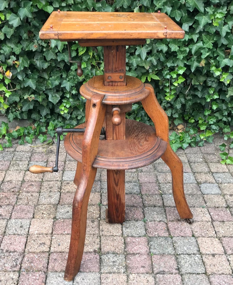 Hand-Crafted Magnificent & Adjustable Wooden Sculpture or Plant Stand, Column / Pillar Easel For Sale