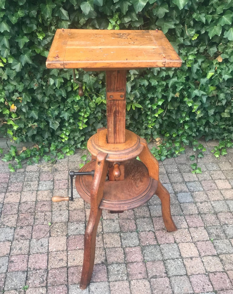 Iron Magnificent & Adjustable Wooden Sculpture or Plant Stand, Column / Pillar Easel For Sale