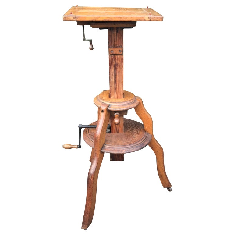 Magnificent & Adjustable Wooden Sculpture or Plant Stand, Column / Pillar Easel For Sale