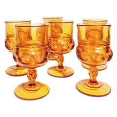 Magnificent Amber Glass 1960 Midcentury Glass Water, Wine Set of Six Glasses