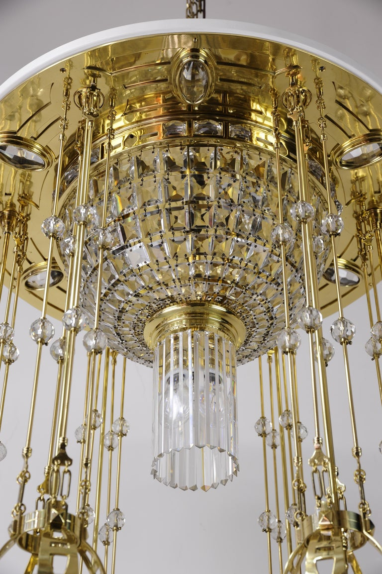Brass Magnificent and Huge Art Deco Chandelier Vienna, 1920s For Sale