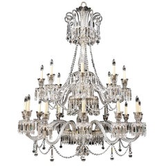 Twenty-Light Crystal and Cut Glass Chandelier