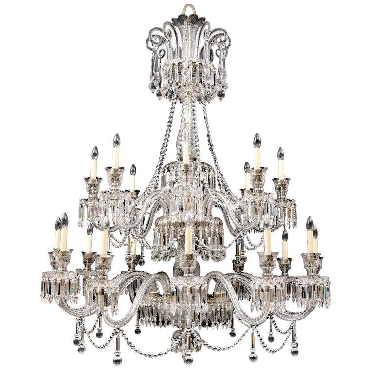 Twenty-Light Crystal and Cut Glass Chandelier