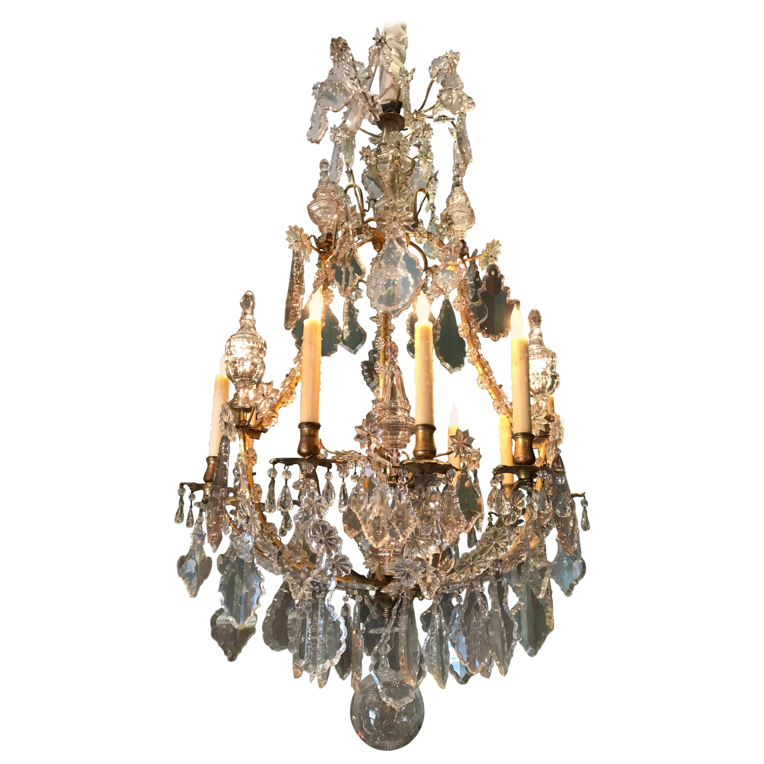 Large Antique 18th Century Crystal Chandelier ceiling light pendant Baccarat LA