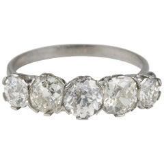 Magnificent Antique 2.50 Carat Diamond Five-Stone Ring, circa 1910