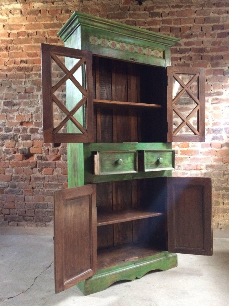 Teak Magnificent Antique Cupboard Pantry French Painted Provincial Style Distressed