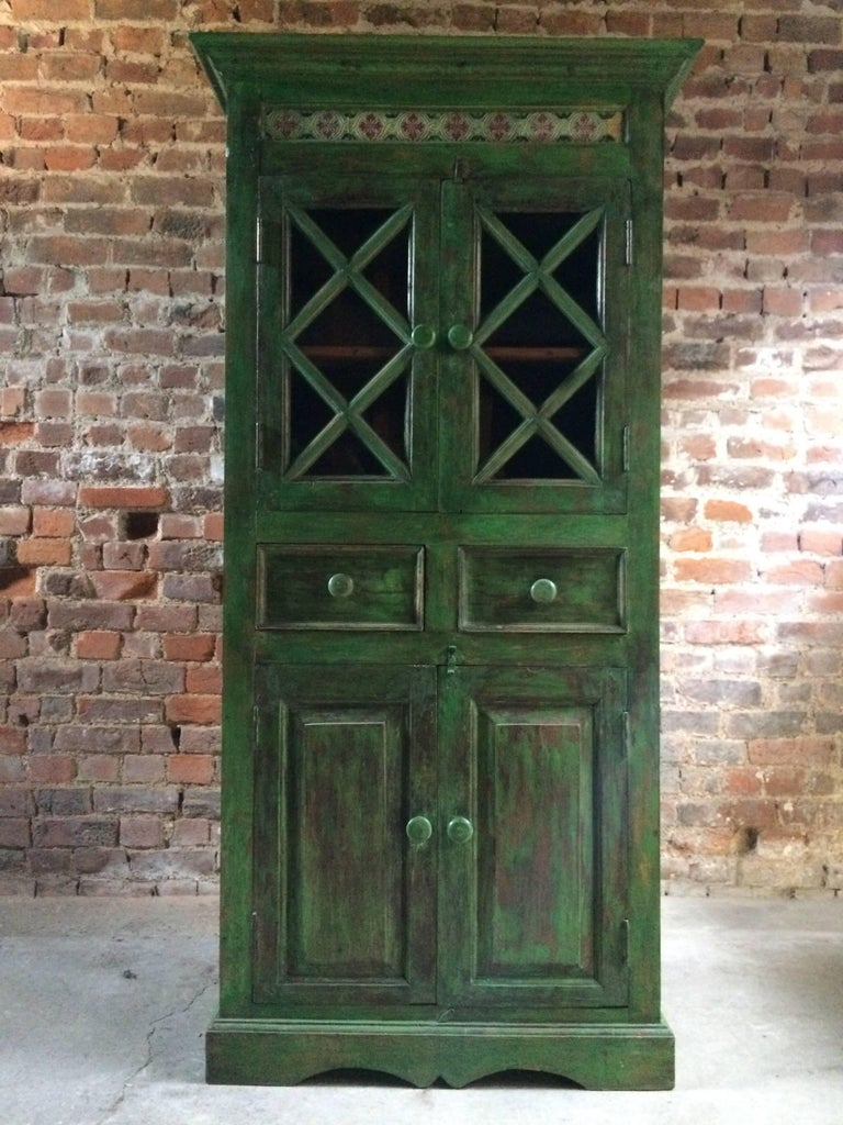 Magnificent Antique Cupboard Pantry French Painted Provincial Style Distressed 1