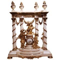 Magnificent Antique French Louis XVI Carrara Marble Bronze Dore Mounted Clock