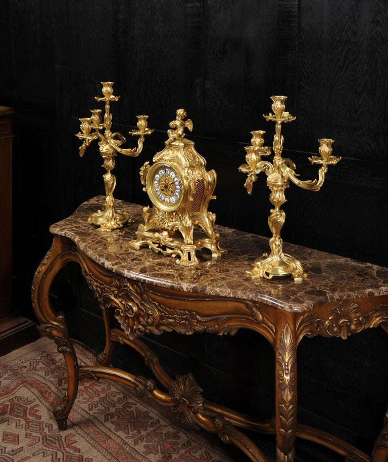 Magnificent Antique French Rococo Clock Set After Meissonnier For Sale 4