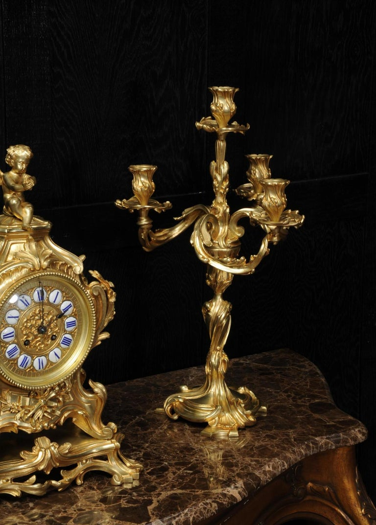 Magnificent Antique French Rococo Clock Set After Meissonnier For Sale 9