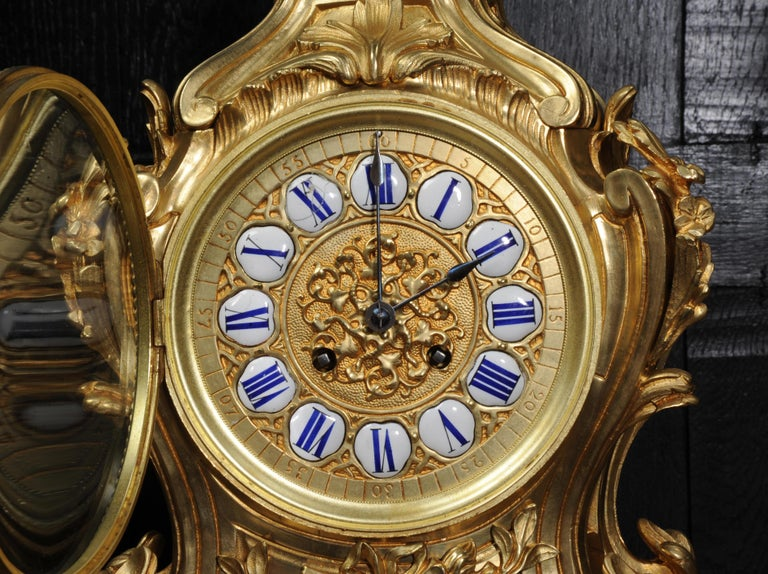 Magnificent Antique French Rococo Clock Set After Meissonnier For Sale 11