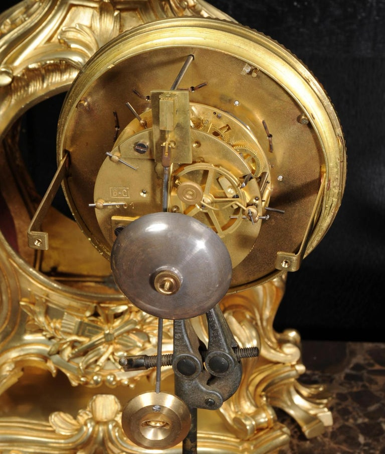 Magnificent Antique French Rococo Clock Set After Meissonnier For Sale 12