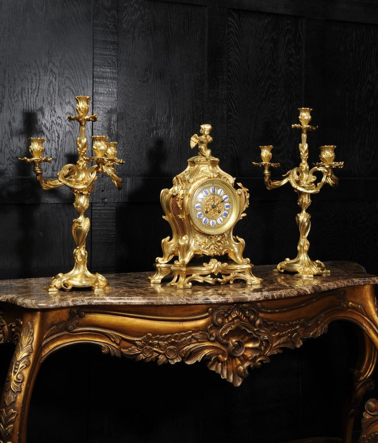 Gilt Magnificent Antique French Rococo Clock Set After Meissonnier For Sale