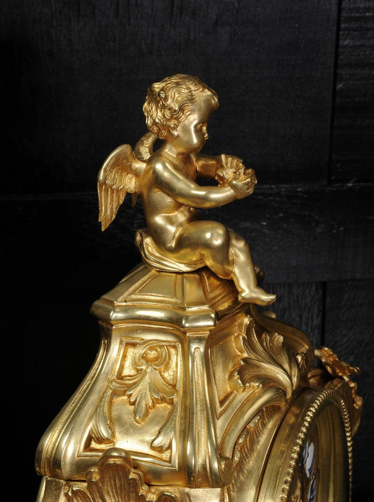 Magnificent Antique French Rococo Clock Set After Meissonnier In Good Condition For Sale In Belper, Derbyshire