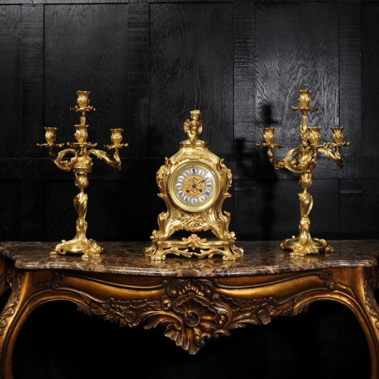 19th Century Magnificent Antique French Rococo Clock Set After Meissonnier For Sale