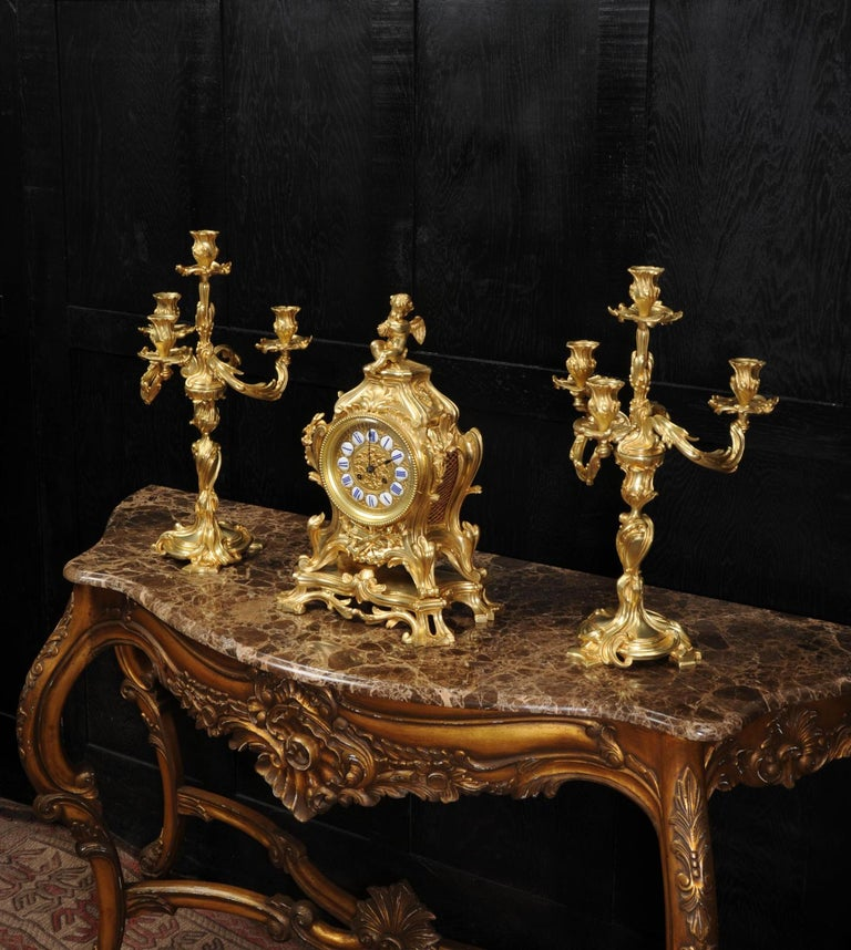 Bronze Magnificent Antique French Rococo Clock Set After Meissonnier For Sale