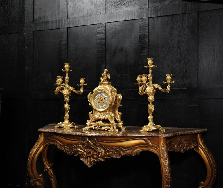 Magnificent Antique French Rococo Clock Set After Meissonnier For Sale 3