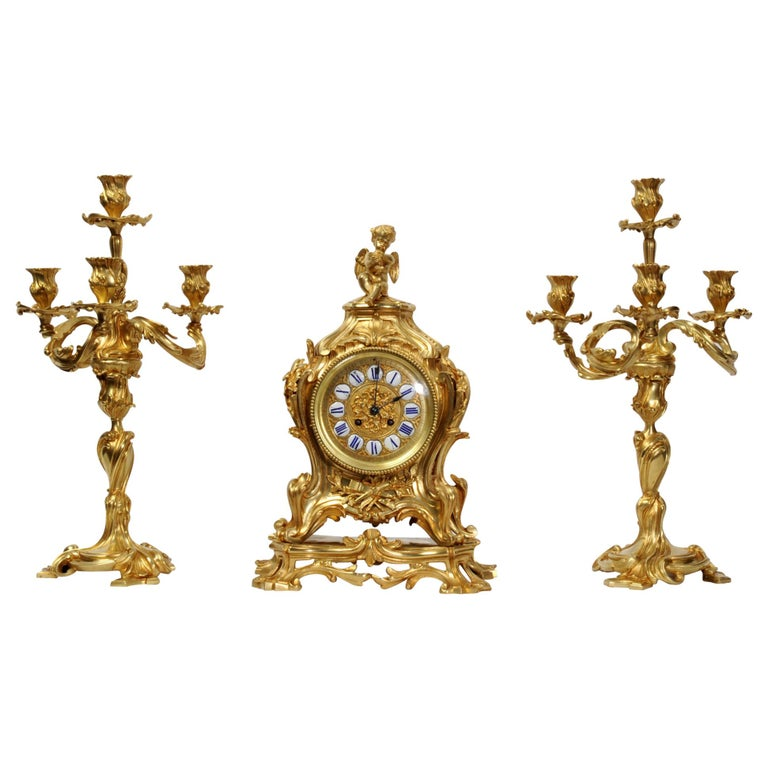 Magnificent Antique French Rococo Clock Set After Meissonnier For Sale