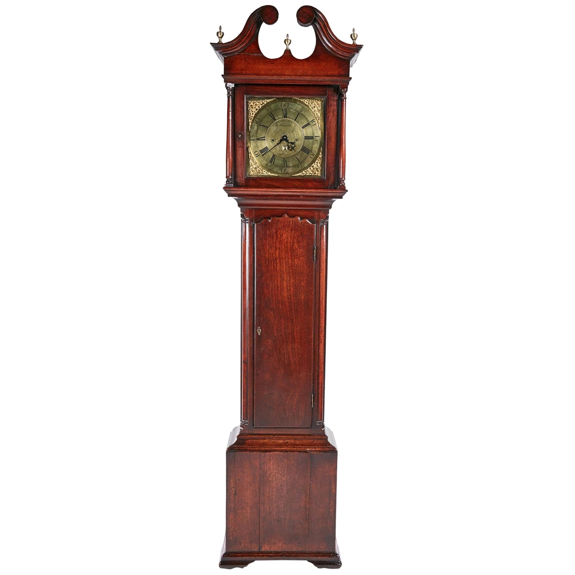 Magnificent Antique George II Brass Face Red Walnut Longcase Clock