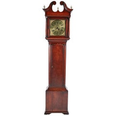 Magnificent Antique George II Brass Face Red Walnut Longcase Clock