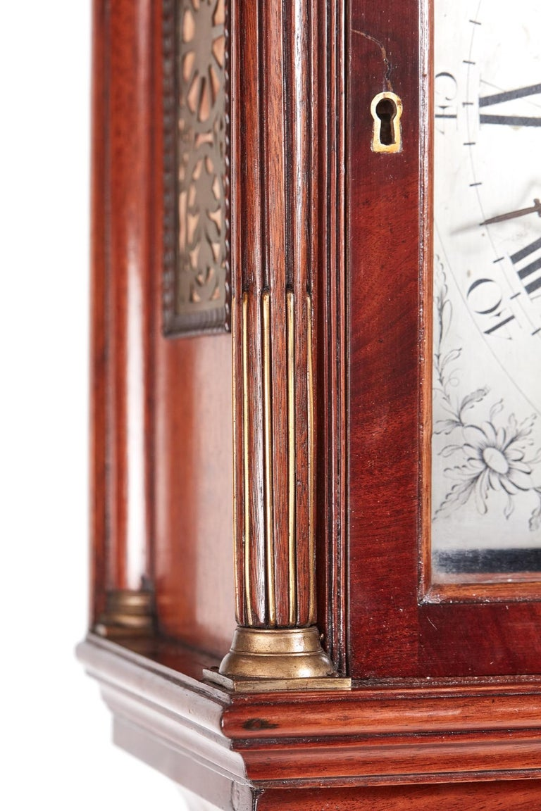 Magnificent Antique Georgian Mahogany 8 Day Longcase Clock In Excellent Condition For Sale In Norwich, GB