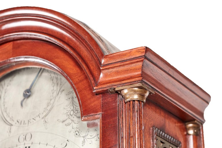 Magnificent Antique Georgian Mahogany 8 Day Longcase Clock For Sale 1
