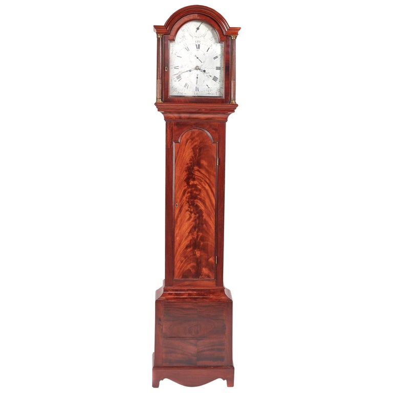 Magnificent Antique Georgian Mahogany 8 Day Longcase Clock For Sale