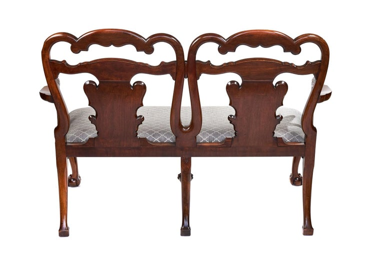 Magnificent Antique Georgian Revival Walnut Chair Back Sofa/Settee For Sale 4